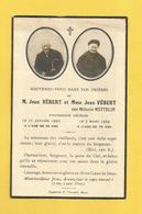CARTE MEMOIRE MORTUAIRE GENEALOGIE FAIRE PART DECES  VEBERT METTELIN 1930 - Décès