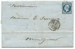 N° 14 BLEU NAPOLEON SUR LETTRE / LYON POUR MONTPELLIER  / 19 SEPT 1855 - 1849-1876: Klassieke Periode
