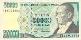 50000 Türk Lira Banknote Türkei VF/F (III) 1970 - Turchia