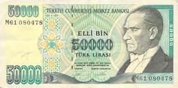 50000 Türk Lira Banknote Türkei VF/F (III) 1970 - Türkei