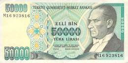 50000 Türk Lira Banknote Türkei VF/F (III) 1970 - Turquie