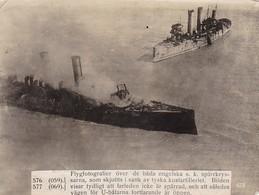Foto Luftbild Von Englischen Kreuzern, Von Deutscher Küstenartillerie Versenkt - Pressefoto - 1. WK - 16*12cm (41504) - Krieg, Militär