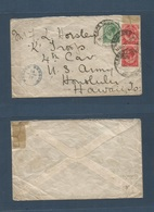 """SOUTH AFRICA. 1917 (14 Dec) Cape Town - Hawaii, Honululu, US Army """"K"""" Troops. Fkd + Censored Envelope. Extraordinary Rar - South Africa (1961-...)"""