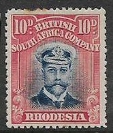 Southern Rhodesia, / B.S.A.Co., GVR,  Admiral, 1913, 10d, Black & Carmine-red Die II, Perf 14MH *. - Southern Rhodesia (...-1964)