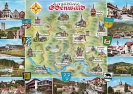 1 MAP Of Germany * 1 Ansichtskarte Mit Der Landkarte - Der Südliche Odenwald * - Landkarten