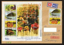 Laos  2015 Block 255 + Mi 2294A – 2295A Airmail FDC Sent To Germany - Laos