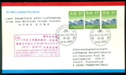 Hong Kong 1997 Airmail Cover Last Departure With Lufthansa Boeing 747 From British Crown Colony To Frankfurt - Hong Kong (...-1997)