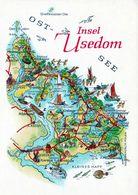 1 Map Of Germany * 1 Ansichtskarte Mit Der Landkarte Der Insel Usedom * - Landkarten