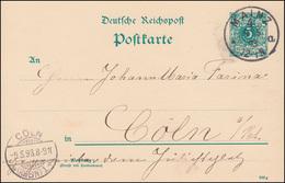 Postkarte P 30I Ziffer 5 Pf. DV 293 G, MAINZ 4 A 9.5.1893 Nach CÖLN (RHEIN) 9.5. - Ganzsachen