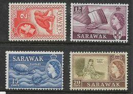 Sarawak, EIIR, 1955, 2c, 12c, 15c MH * - Sarawak (...-1963)