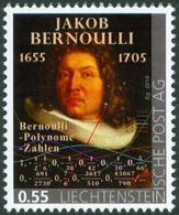 """BERNOULLI, Jacob - Bernoulli Polynomials, Bernoulli Numbers  - Liechtenstein 2014, MNH ** - Mathematics - """"die Marke"""" - Wissenschaften"""