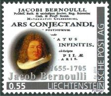 """BERNOULLI, Jacob - Ars Conjectandi  - Liechtenstein 2014, MNH ** - Mathematician,  Mathematics - """"die Marke"""" - Wissenschaften"""