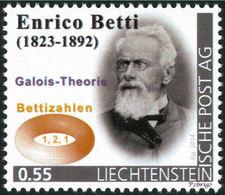 """BETTI, E. - Betti Numbers, Galois Theory  - Liechtenstein 2014, MNH ** - Mathematician,  Mathematics - """"die Marke"""" - Wissenschaften"""