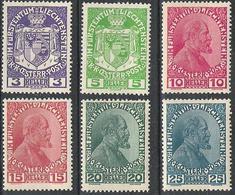 Liechtenstein 1917/18: Fürst Johann (1840-1928) & Landes-Wappen No. 4-10 * Falz MLH (Zumstein CHF 54.00 Minus 50%) - Royalties, Royals
