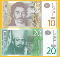 Serbia Set 10 & 20 Dinara P-54b & P-55b 2013 UNC Banknote - Serbia
