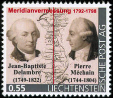 """DELAMBRE, J.-B. , MECHAIN, P. - Liechtenstein 2014, MNH ** - French Astronomers -  Paris Meridian Survey  - """"die Marke"""" - Wissenschaften"""