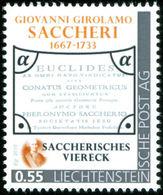 """SACCHERI, G.G. - Quadrangle Of Saccheri, Euclides Ab Omni Naevo ... - Liechtenstein 2015, MNH ** - Mathematics - """"die Ma - Wissenschaften"""
