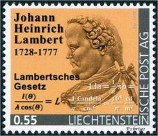 """LAMBERT, J.H. - Lambert's Law - Liechtenstein 2014, MNH ** - Mathematics,  Mathematician, Mathematicien - """"die Marke"""" - Physik"""
