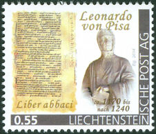 """FIBONACCI - Prominent Mathematician Of The Middle Ages, Liber Abbaci - Liechtenstein 2014, MNH ** - Mathematics - """"die M - Wissenschaften"""