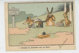 ANIMAUX - FOX - RABBIT -Illustrateur BENJAMIN RABIER - Jolie Carte Fantaisie Renard Pris Dans Un Piège , Taupe & Lapins - Rabier, B.