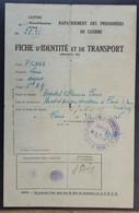 Fiche De Transport Rapatriement Prisonnier De Guerre Cachet Hôpital Villemin Paris Vers Brest Juin 1945 - Marcophilie (Lettres)