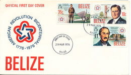Belize FDC 29-3-1976 U.S. Bi-Centennial 1776 - 1976 With Cachet - Us Independence