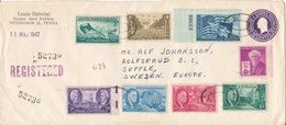 USA Registered Uprated Postal Stationery Cover Sent To Sweden New York 27-4-1947 With More Topic Stamps - Postal Stationery