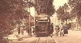 Couillet-Queue - Terminus Du Tram Et Route De Philippeville (tramway Animée Edit. Honoré Hotyat Tabacs 1935 Voir Zoom) - Charleroi