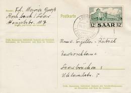 CP Affr Michel 326 Obl ASCHBACH / über LEBACH (SAAR) Du 24.10.54 Adressée à Saarbrücken - Lettres & Documents