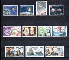 MONACO N° 664 à 674  NEUFS SANS CHARNIERE COTE 16.10€  ESPACE BATEAUX TELECOMMUNICATIONS - Unused Stamps