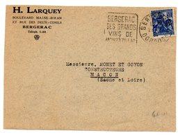 DORDOGNE - Dépt N° 24 = BERGERAC 1929 Ca = FLAMME DAGUIN ' SES GRANDS VINS De / MONBAZILLAC ' - Marcophilie (Lettres)