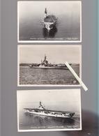Bateau De Guerre / Lot De 3 CP / Porte Avions Arromanches - Warships