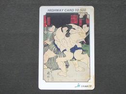 JAPAN HIGHWAY PREPAIDCARD Y 10.500 - ART PAINTINGS FIGHTERS SUMO - Giappone