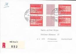 SUISSE  -  BLOC DE 4  TETE BECHE AVEC PONT -   1970 -  LETTRE RECOMMANDEE BASSEL   -  POUR ALLEMAGNE   - - Poststempel