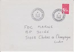 Lettre 2003 Oblitération TàD Manuel PARIS CPCE C Rue D'Aboukir - Société ROUTEX Courcouronnes Sur Luquet Jumelet - Poststempel (Briefe)