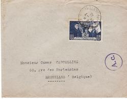 LETTRE FRANCE CENSURE AC 1943 TIMBRE BEAUME VERS BELGIQUE - Covers & Documents