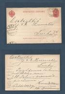 FINLAND. 1907 (21 Feb) Lahti, Helsinfors - St. Petersburg - Turku. Reply Half Card Used. Fine. - Finland