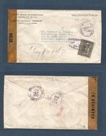 NICARAGUA. 1943 (Sept) Managua - USA, Carthage, Missionari (17 - 27 Sept) Air Depart Censored Envelope + US Censor Label - Nicaragua