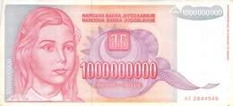 100000000 Dinar Banknote Jugoslawien 1993 VF/F (III) - Jugoslawien