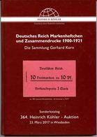 Markenheftchen Deutsches Reich - Die Sammlung Gerhard Korn  Luxuslatalog 364. Köhler 2017 - Markenheftchen