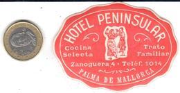ETIQUETA DE HOTEL  - HOTEL PENINSULAR  -PALMA DE MALLORCA - Etiquetas De Hotel