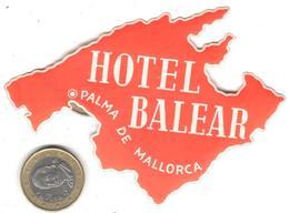 ETIQUETA DE HOTEL  - HOTEL BALEAR  -PALMA DE MALLORCA - Etiquetas De Hotel