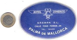 ETIQUETA DE HOTEL  - HOTEL COMERCIO  -PALMA DE MALLORCA - Etiquetas De Hotel