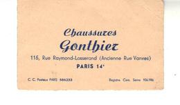 Carte De Visite  Chaussures GONTHIER  Paris 14 ème - Cartoncini Da Visita