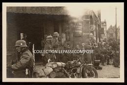 INEDIT CANTELEU LAMBERSART - MAI 1940 - CAFE DU COMMERCE PLACE DU COLYSEE - SOLDATS ALLEMANDS - MOTOCYCLETTE MOTO - Lambersart