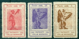 VIGNETTES 1943 / 45 PATRIOTI VALLE BORMIDA (rouge,violette,marron) N (x) - Erinnofilia