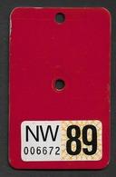 Velonummer Nidwalden NW 89 (Erste Vignette NW) ! - Number Plates