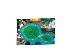 Carte Postale Tahiti  Multi Vues Avec Carte De Tahiti - Wallis Et Futuna