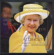 Alderney Mini Sheet To Celebrate 75th Birthday Of Queen Elizabeth. - Alderney