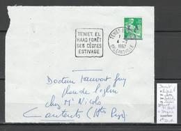 Algerie -EA - Devant De Lettre : Cachet Daguin TENIET EL HAAD  - 1er Jour - Algérie (1924-1962)